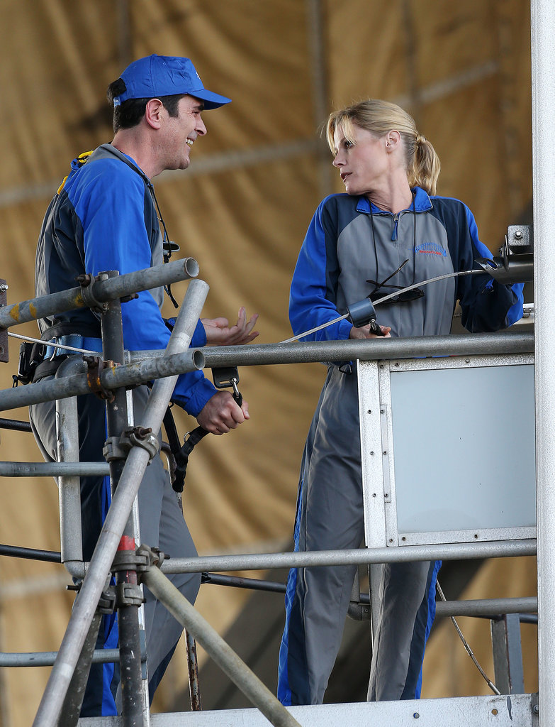 Ty Burrell and Julie Bowen led the Dunphy family's Sydney Harbour Bridge climb on Feb. 22. Claire (Bowen) looks characteristically worried . . .