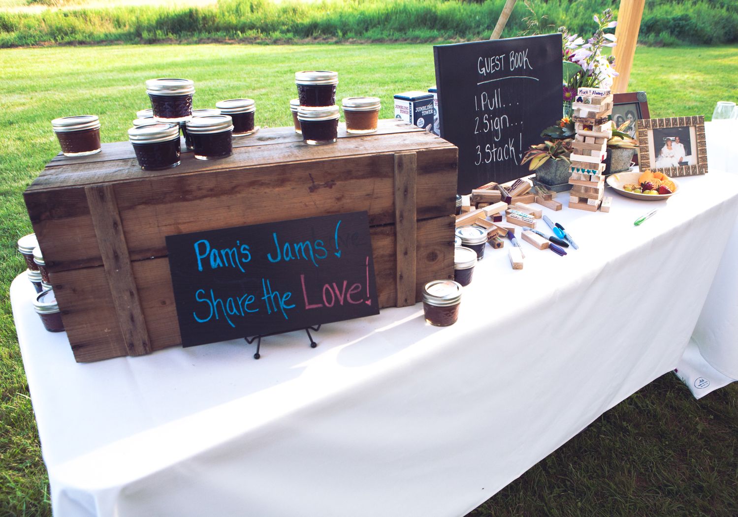They had a cookie bar instead of a cake (all baked by friends and family), and Amy's mom made about 150 little jams from fruit in her garden as party favors. Source: Evangeline Lane Photography