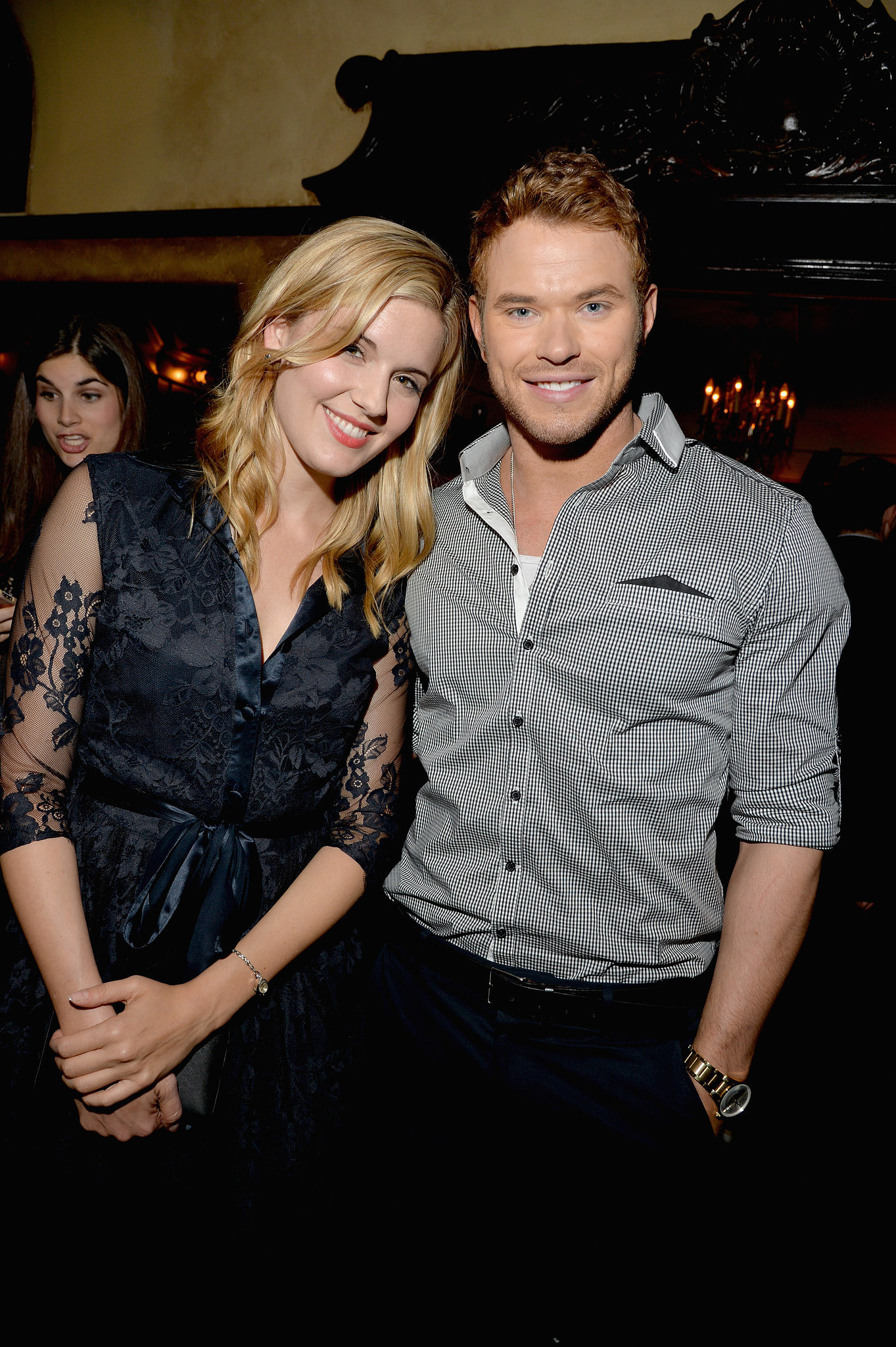 Maggie Grace met up with Kellan Lutz inside the Vanity Fair Young Hollywood party back on Tuesday night.