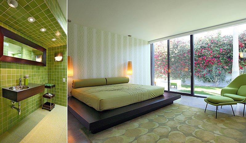 Guest En Suite Bathroom: A Green Guest Room Matches The En-suite Bathroom.