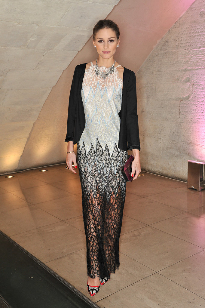 For a VIP viewing of Valentino: Master of Couture, it was only natural that Olivia selected a gown from the designer.