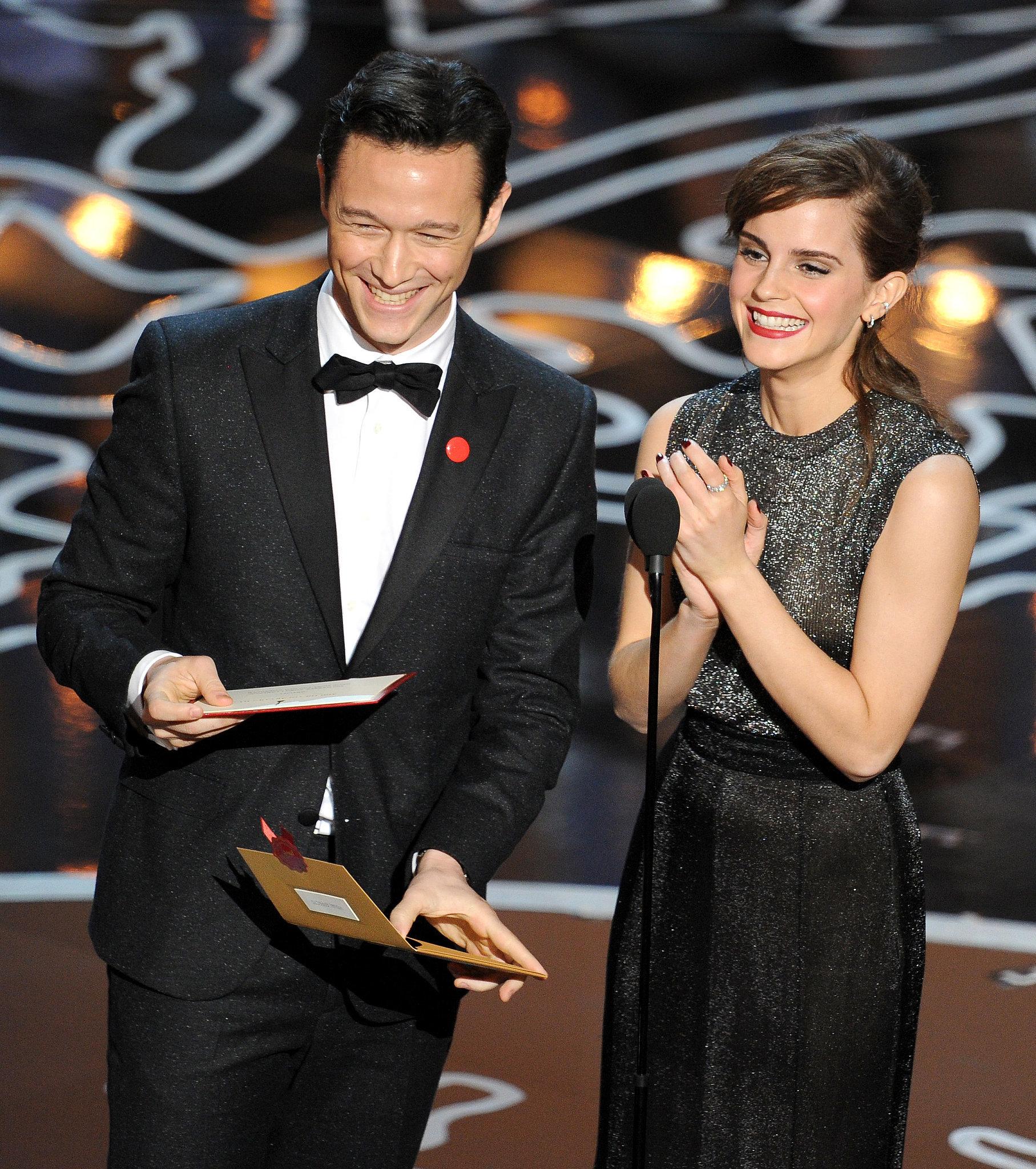 Joseph Gordon-Levitt and Emma Watson laughed.