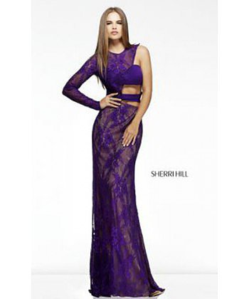 Elegant One Sleeve Sexy Purple Prom Gown