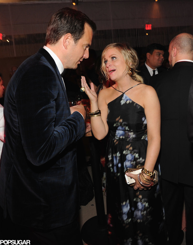 Exes Will Arnett and Amy Poehler caught up during the party.