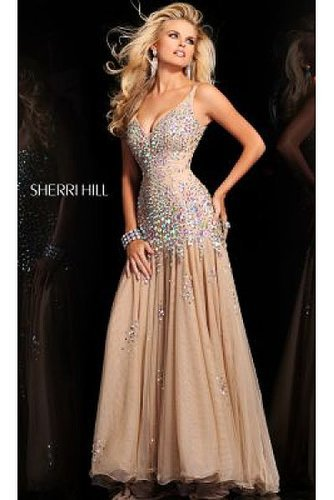 Nude Beaded Long 2972 Cocktail Dress Sherri Hill