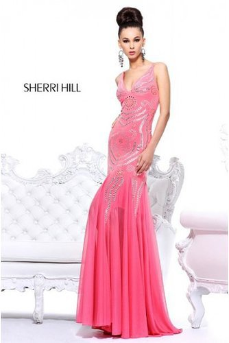 Pink Open Back 1605 Long Prom Dress Sherri Hill