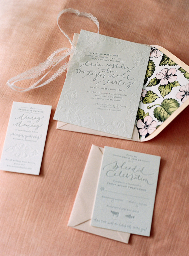 These invites are perfect for a garden wedding. The subtle green paper looks timeless without being typical.  Photo by  Charlotte Jenks Lewis  via Style Me Pretty