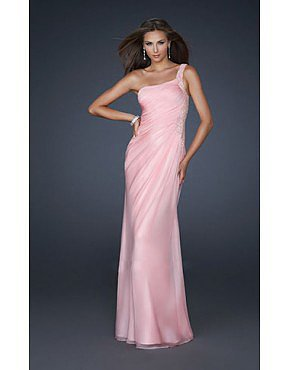 Asymmetrical Beaded Evening Gown by La Femme 17684 Pink