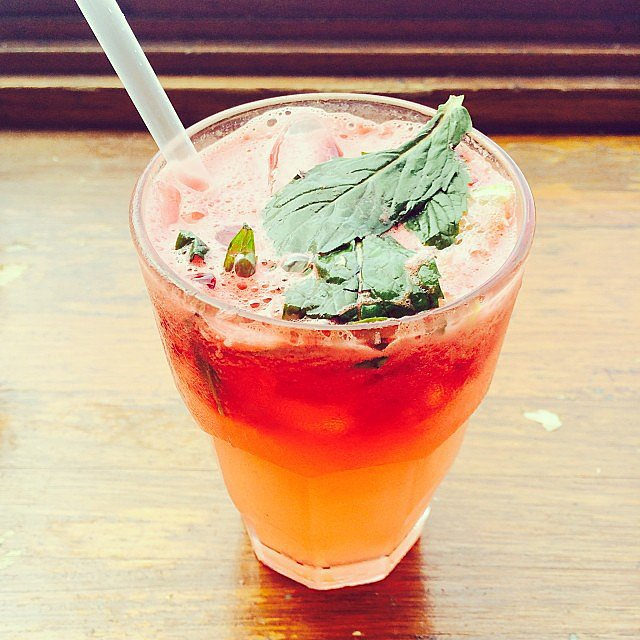 Get your morning off to a good start with freshly-squeezed lemon, ginger, watermelon, orange and mint. Delish.