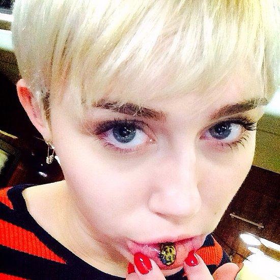 Miley Cyrus Gets Crying Cat Emoji Tattoo on Inner Lip