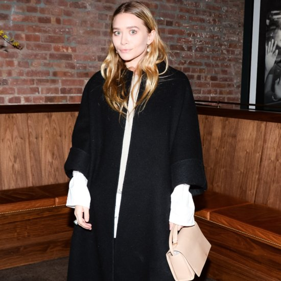 Ashley Olsen in Black Jacket and Nude Purse
