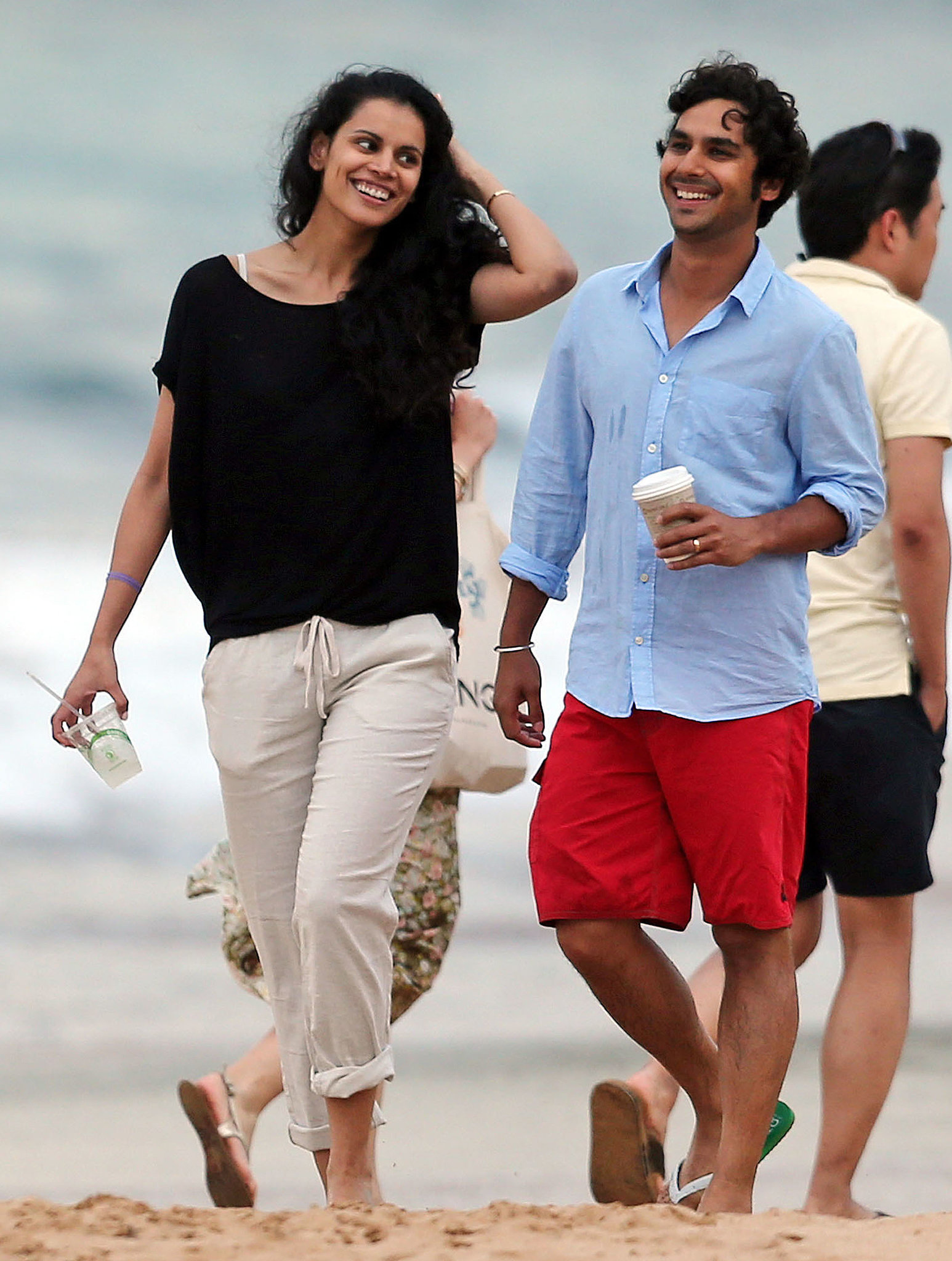 Kunal Nayyar and his wife hit the beach in Maui in Hawaii on Saturday.