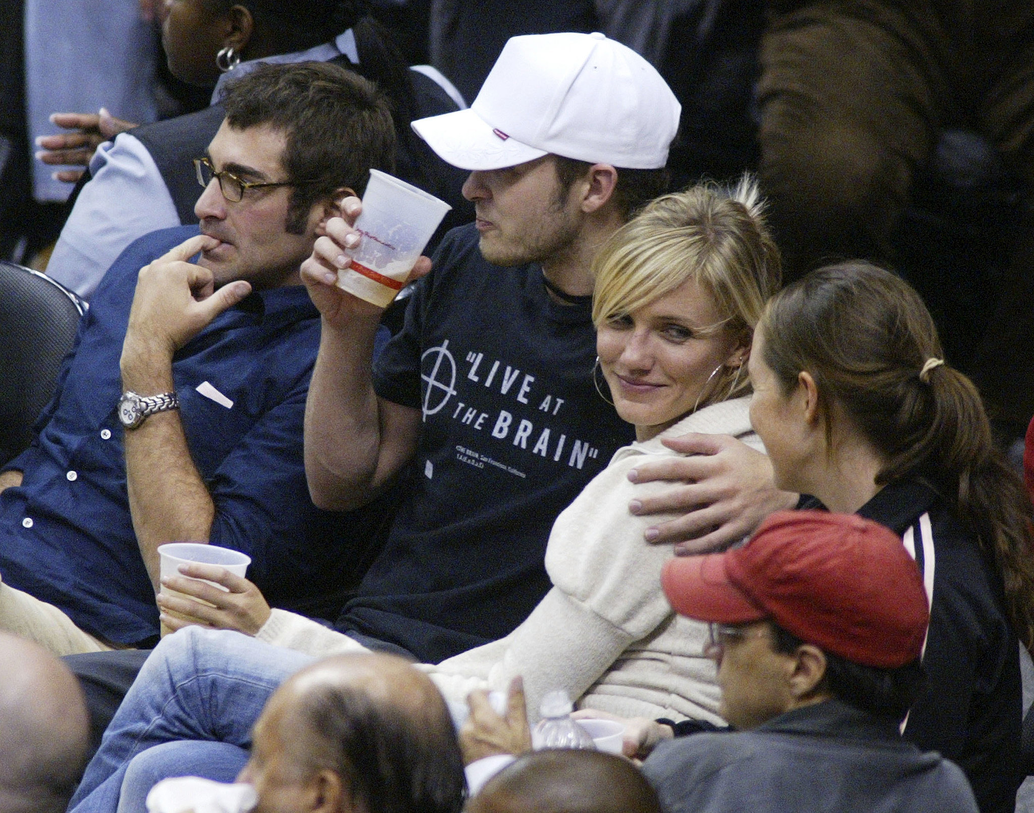 When he cuddled up with <nobrand>Cameron Diaz</nobrand> at a Lakers game.