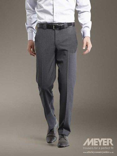 Meyer Trousers - Roma 344 Soft Gabardine - Mid-Grey