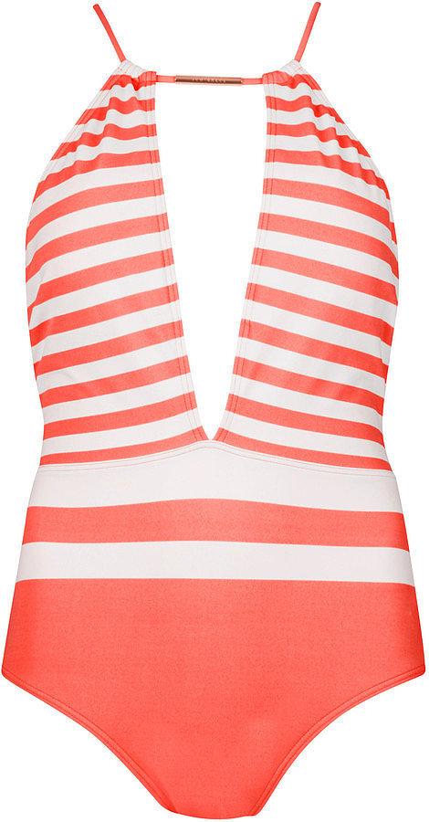 Ted Baker Leallaa Neon Strap Halter Swimsuit ($110)