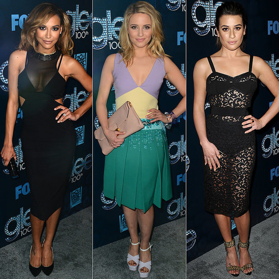 Lea Michele Sheer Dress at Glee 100th Episode Party
