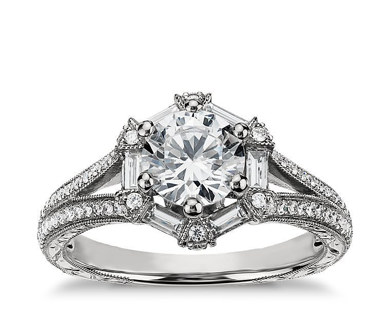 Monique Lhuillier Baguette Hexagon Engagement Ring ($3,125 for setting)