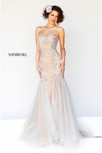 Sherri Hill 11079 Prom Dress Beaded Strapless Nude Silver