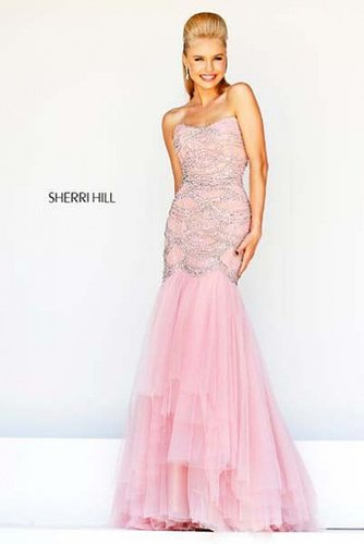 Sherri Hill 11080 Prom Dress Mermaid Pink Nude