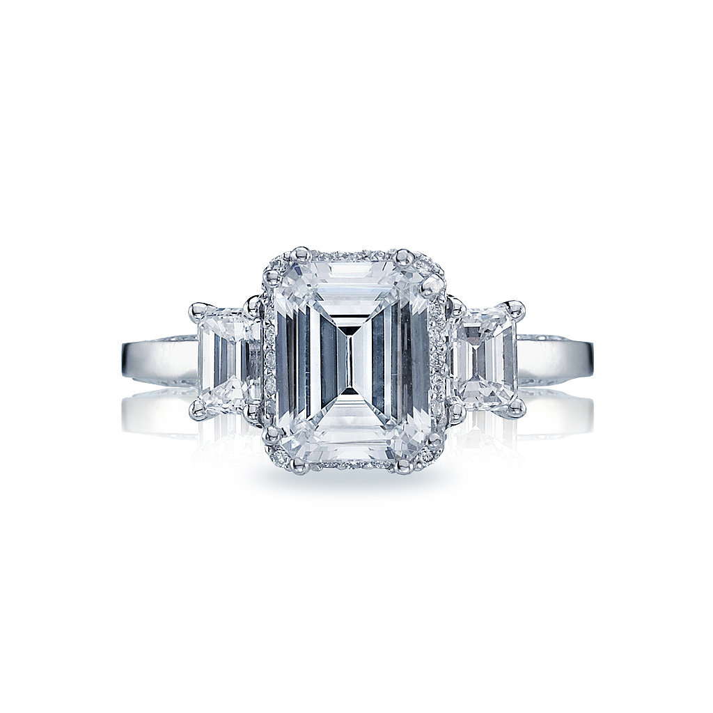 Tacori Dantela Emerald Cut Diamond Three Stone Setting Engagement