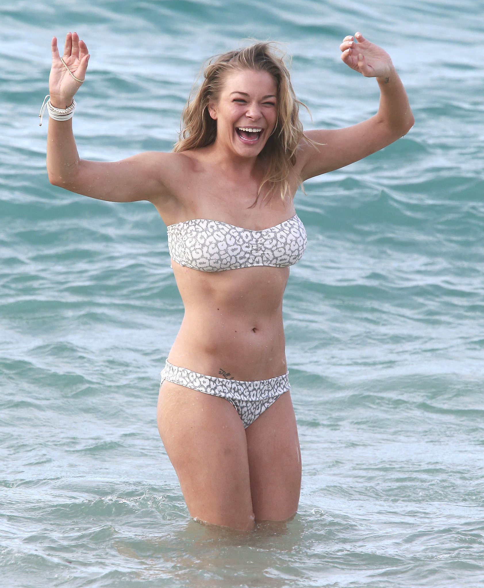 LeAnn Rimes hit the water in Hawaii in January 2014 in a white number.