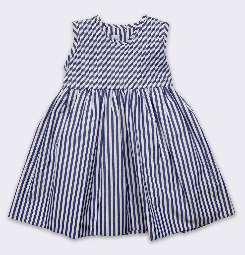 Baby CZ Striped Pintuck Dress