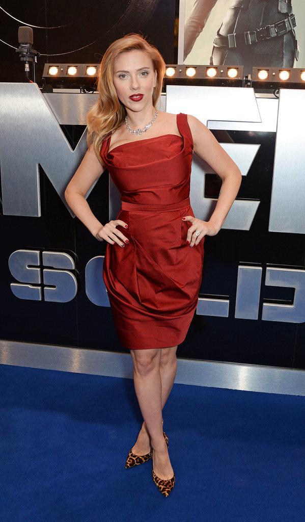 Scarlett Johansson at the London Premiere of Captain America: The Winter Soldier, 2014