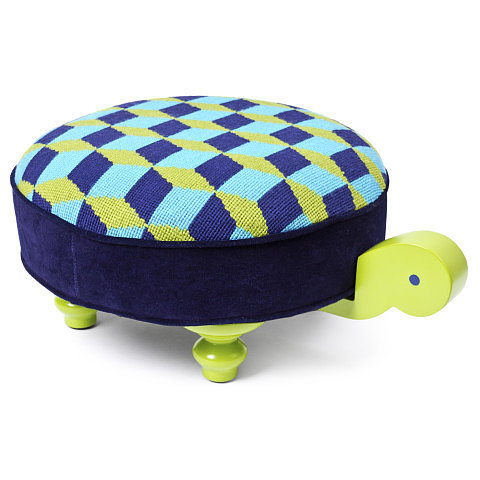 Jonathan Adler Needlepoint Turtle Footstool