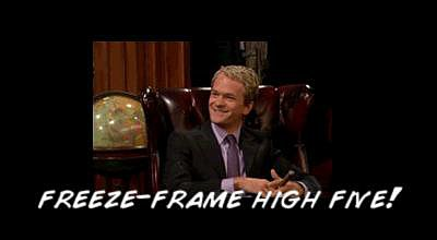 Or a freeze-frame high five.