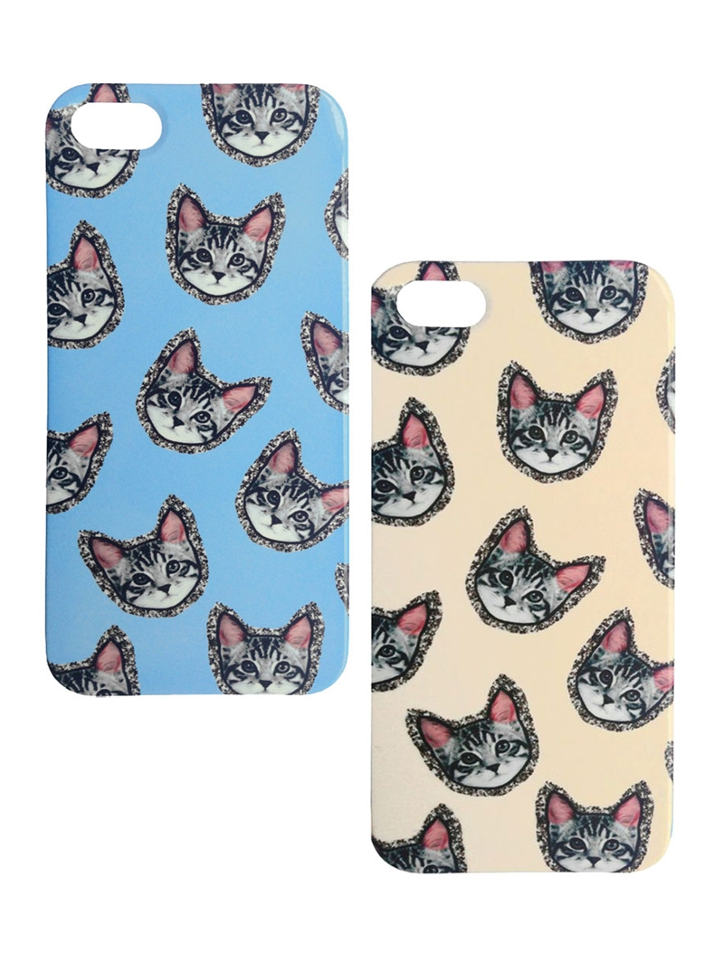 The glitter detail around the cats on these iPhone 5 cases ($90 each) is oh so appropriate.