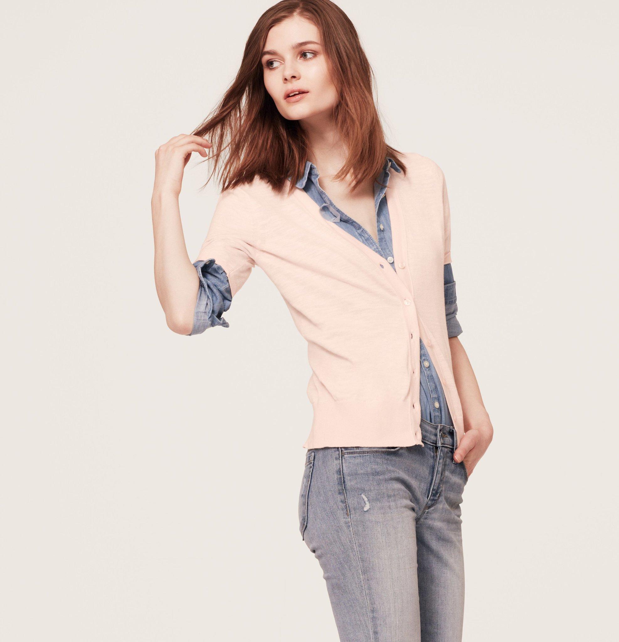Loft Slubbed Cotton Short Sleeve Cardigan ($45)