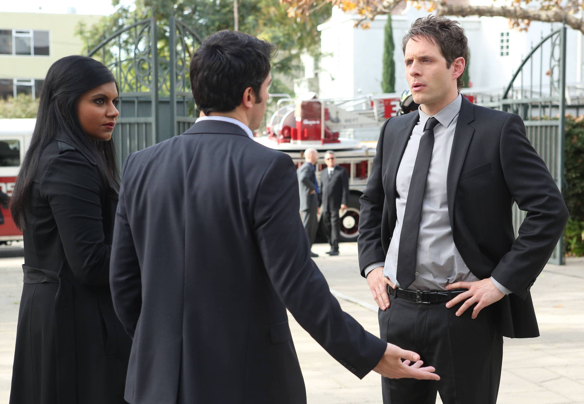 I wonder if this is Mindy and Danny breaking the news of their relationship to Cliff. (Can we call it a relationship? I hope so.)