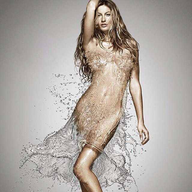 Gisele Bündchen wore a dress made of water for World Water Day. Source: Instagram user giseleofficial
