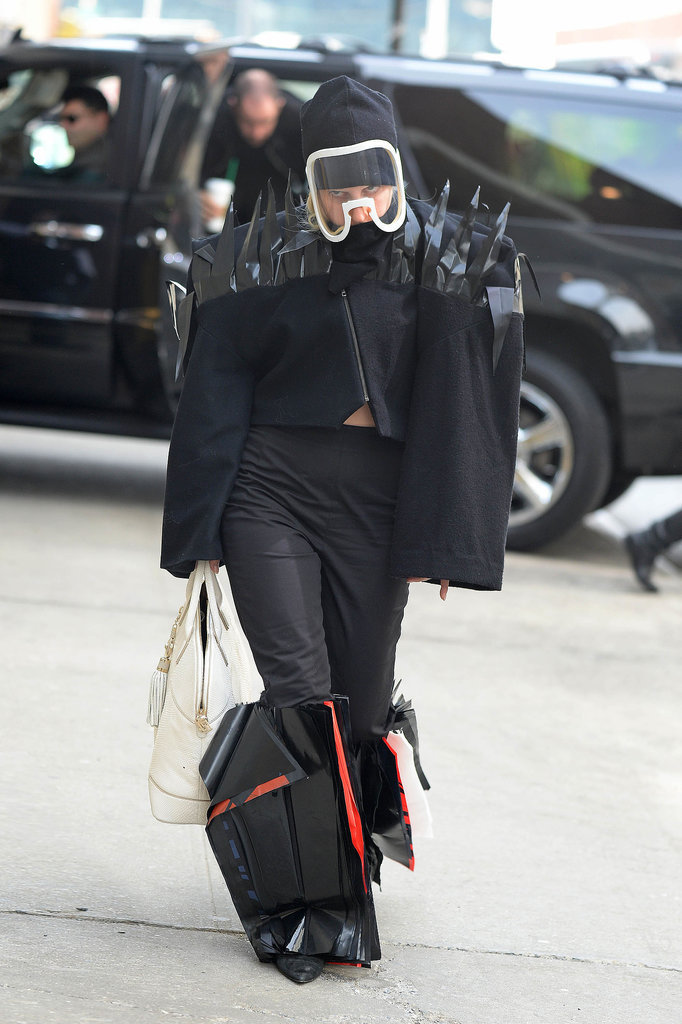 Lady Gaga in Gas Mask in NYC in 2014