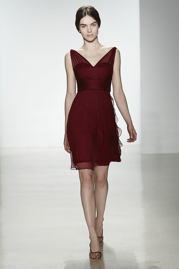 Amsale chiffon one-shoulder v-neck knee-length bridesmaid dress in cranberry Photo courtesy of Amsale
