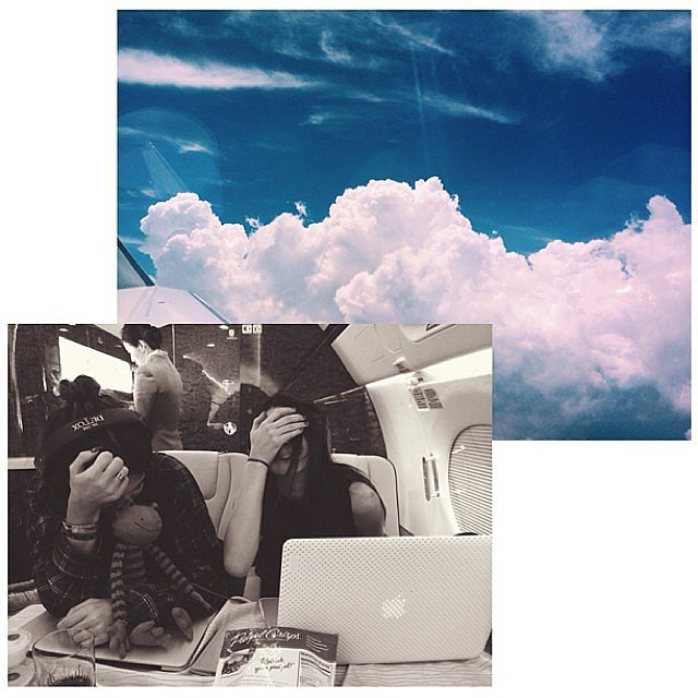 The sisters snapped more photos during their plane ride. Source: Instagram user kyliejenner