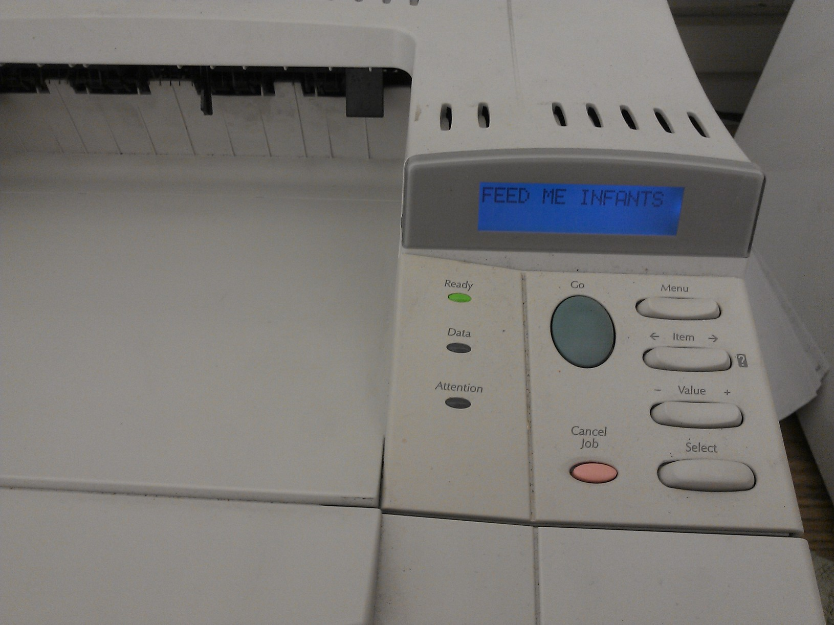 Hack the printer to say something funny.  Source: Reddit user tolomont via Imgur