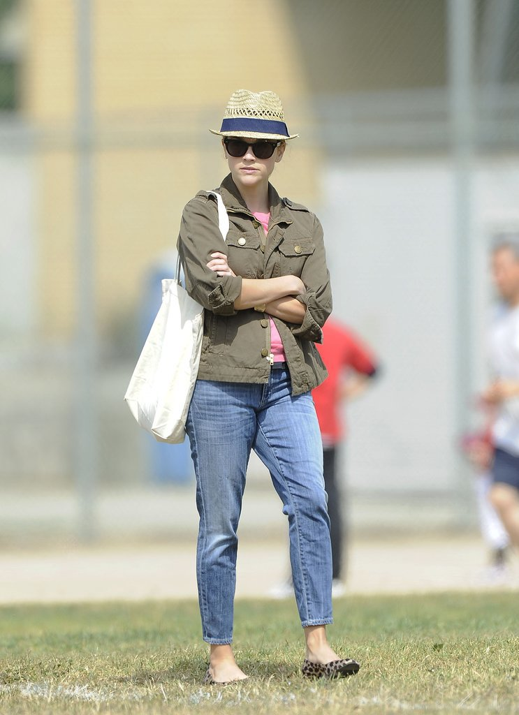 Reese Witherspoon in Boyfriend Jeans and Leopard Flats