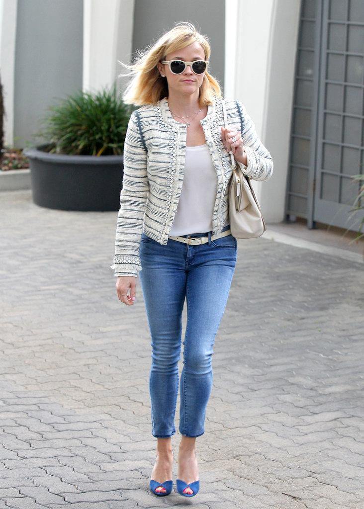 Reese Witherspoon in Tweed Tory Burch Jacket