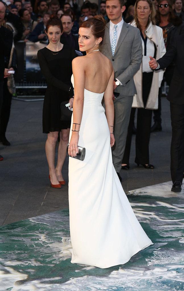 Emma Watson wore white to the London premiere of Noah.