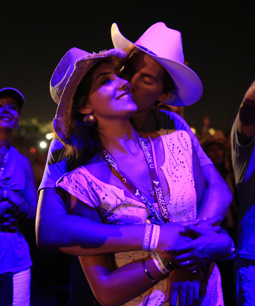 Two lovebirds embraced at Stagecoach.