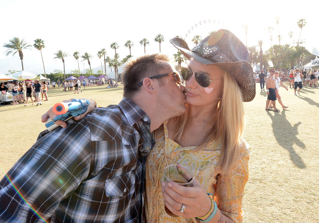 A guy went in for the kiss at Stagecoach in Indio, CA.