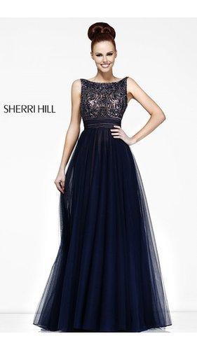 Designer Sherri Hill 11022 Navy Prom Gown