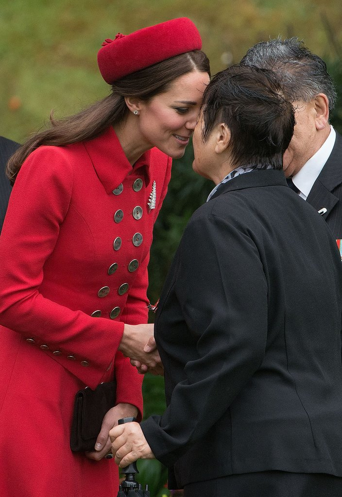 Kate got close on April 7 during her first New Zealand hongi, or nose kiss. (It was the first of many.)
