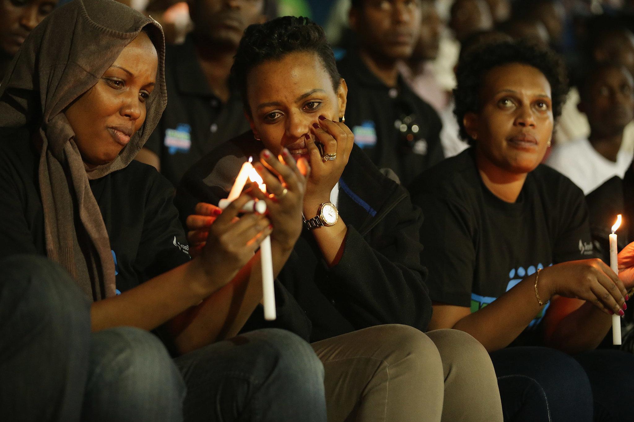 Rwandans took part in today's candlelight vigil at Amahoro Stadium.