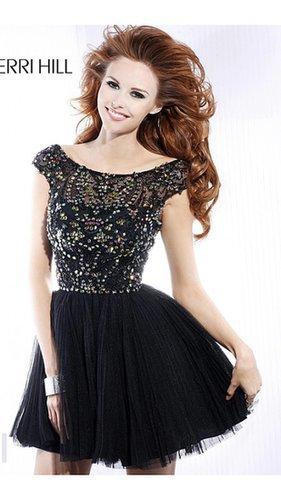 Black Sherri Hill 2814 Short Prom Dress 2014