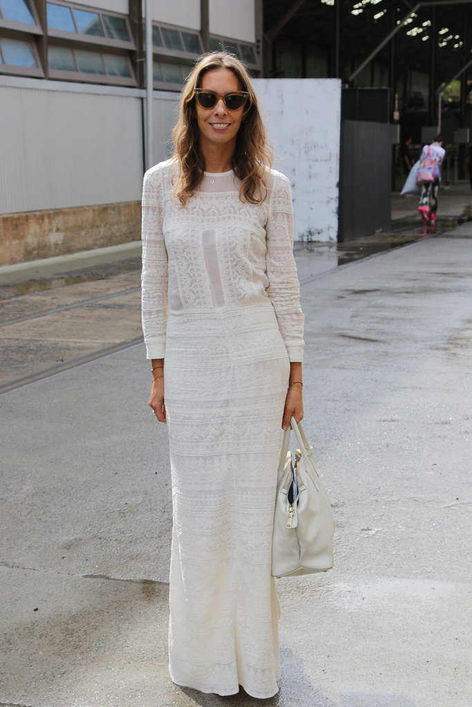 She's one of Sydney's most in-demand stylists, so when Romy Frydman says white-on-white will work, no matter the weather, we listen. While a floor-sweeping white dress could feel dated, the white bag instantly taps into the season's white-on-white street style trend. Photo taken using the Canon 70D camera provided by Canon.