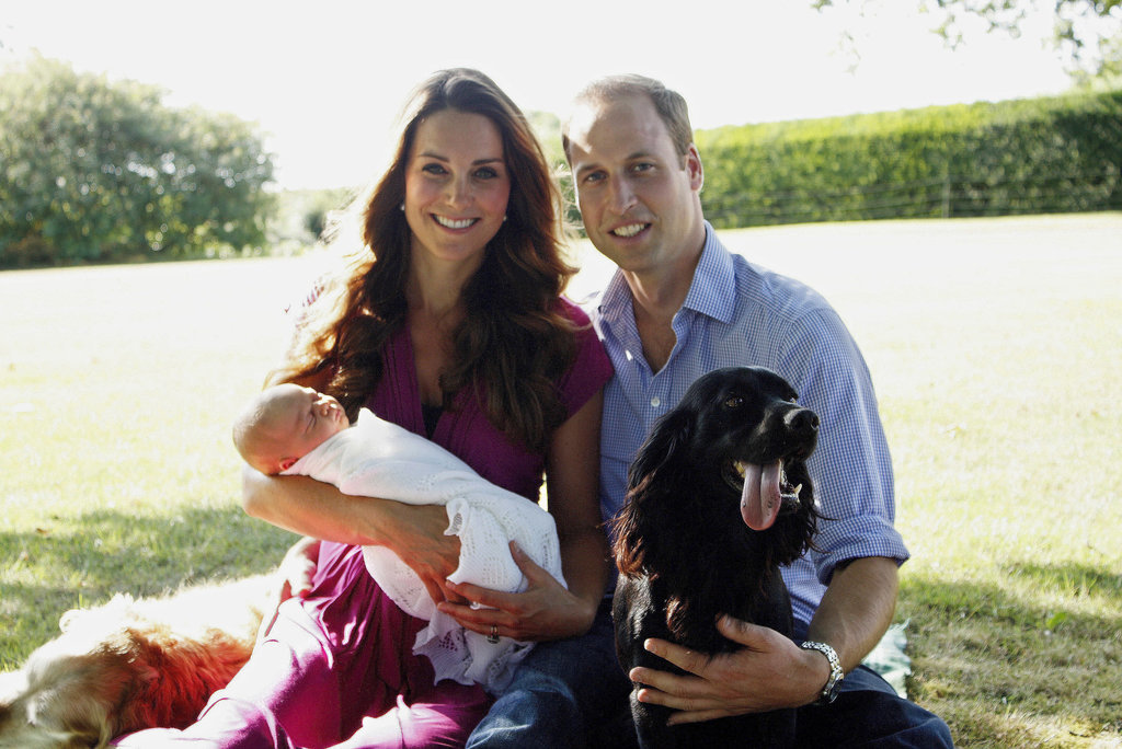 Prince George had his first official portrait taken in August 2013 at Kate's family's home in Bucklebury, West Berkshire, England. The photo showed the Duke and Duchess of Cambridge with their dog, Lupo, and the Middletons' dog, Tilly.