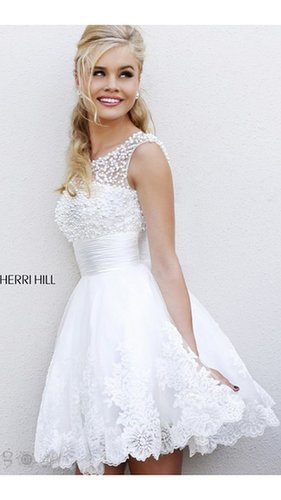 A Line Classic White Prom Dress Sherri Hill 4302Outlet