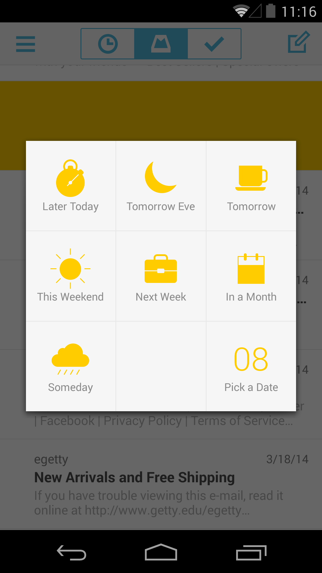 Mailbox for Android — Snooze Options
